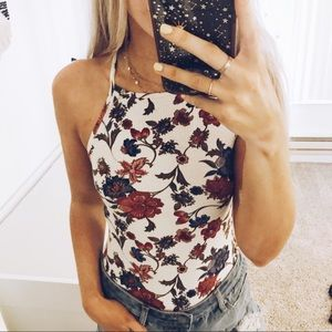 Ribbed floral high neck bodysuit